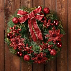 """Венок новогодний d-36 см """"Бантик"""" красные ягодки и цветы"""