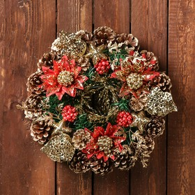 """Christmas wreath d-29, see the """"Bumps"""" Golden-red flowers"""