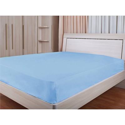 Простыня, размер 240х260 см, голубой, сатин