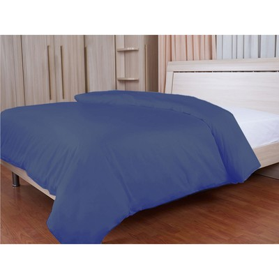 Пододеяльник на молнии, размер 145х210 см, синий, сатин