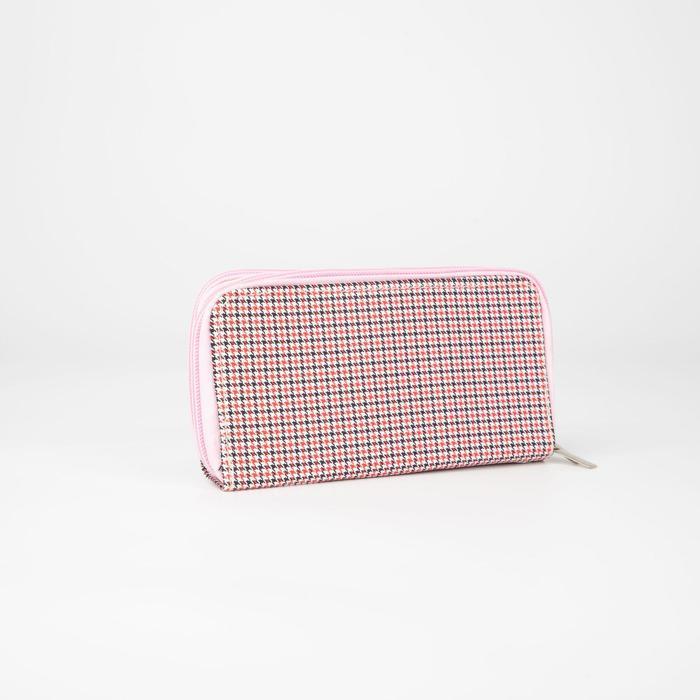 Кошелёк женский, 4 отдела на молниях, с ручкой, цвет розовый - фото 55023