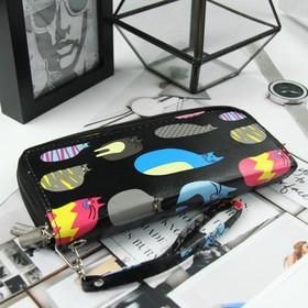 Кошелёк женский, 4 отдела на молниях, с ручкой, цвет чёрный - фото 55039