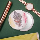 Mirror compact, single-sided, no magnification, color yellow/white/pink