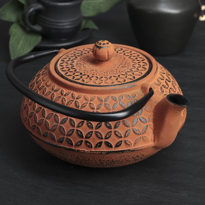 "Чайник с ситом 800 мл ""Лайан"", цвет оранжевый"