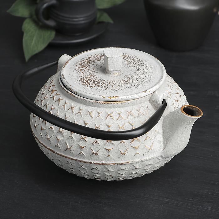 """Чайник с ситом 900 мл """"Жангали"""", цвет белый"""