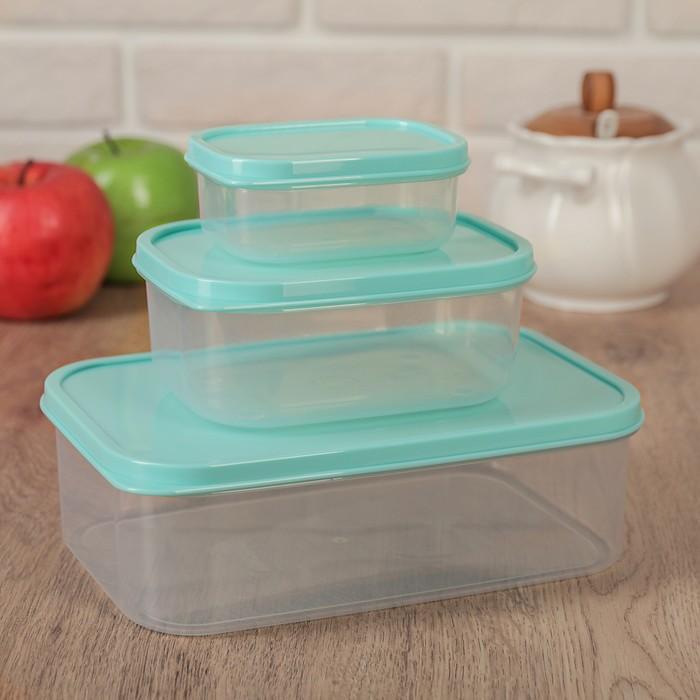 Набор контейнеров пищевых, прямоугольных, 3 шт: 150 мл; 500 мл; 1,2 л, цвет бирюзовый