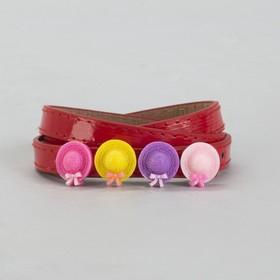 Ремень детский, гладкий, ширина - 1 см, пряжка металл, цвет красный