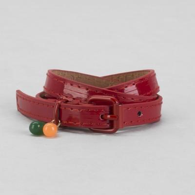 Ремень детский, гладкий, ширина - 1,5 см, пряжка хомут металл, цвет красный