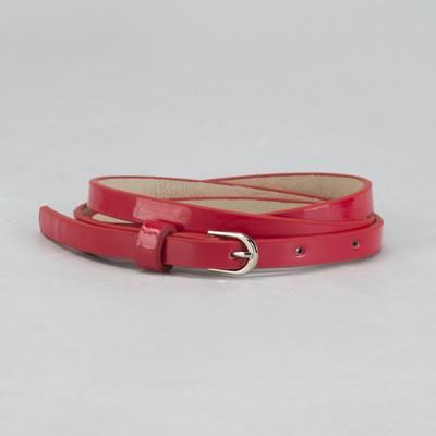 Ремень женский, гладкий, пряжка металл, цвет красный