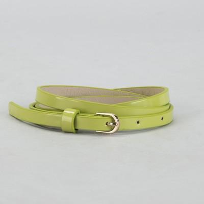 Belt female, smooth, width - 1 cm, buckle gold, color light green