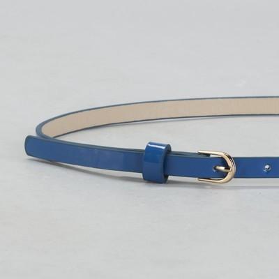 Ремень женский, гладкий, ширина - 1 см, пряжка золото, цвет голубой