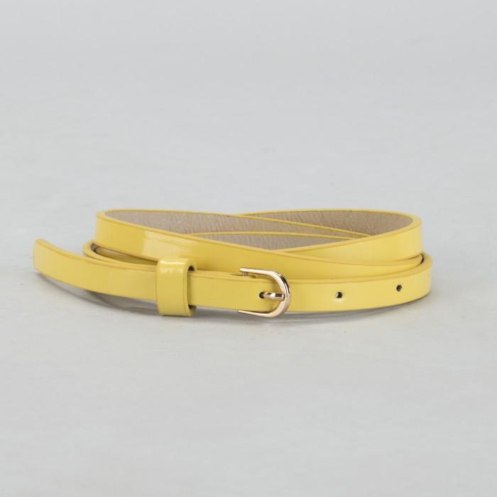 Ремень женский, гладкий, ширина - 1 см, пряжка золото, цвет лимонный