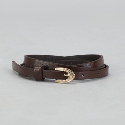 Belt female, smooth, width - 1 cm, buckle gold, color brown