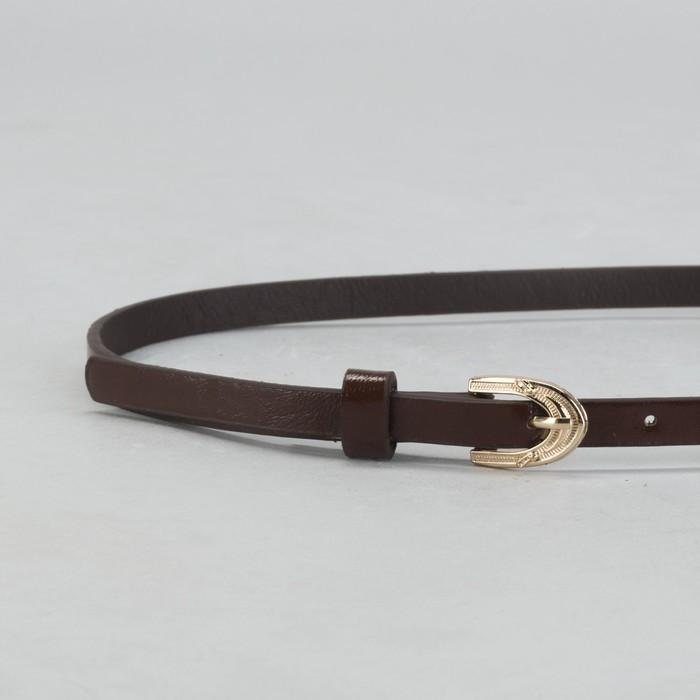 Ремень женский, гладкий, ширина - 1 см, пряжка золото, цвет коричневый