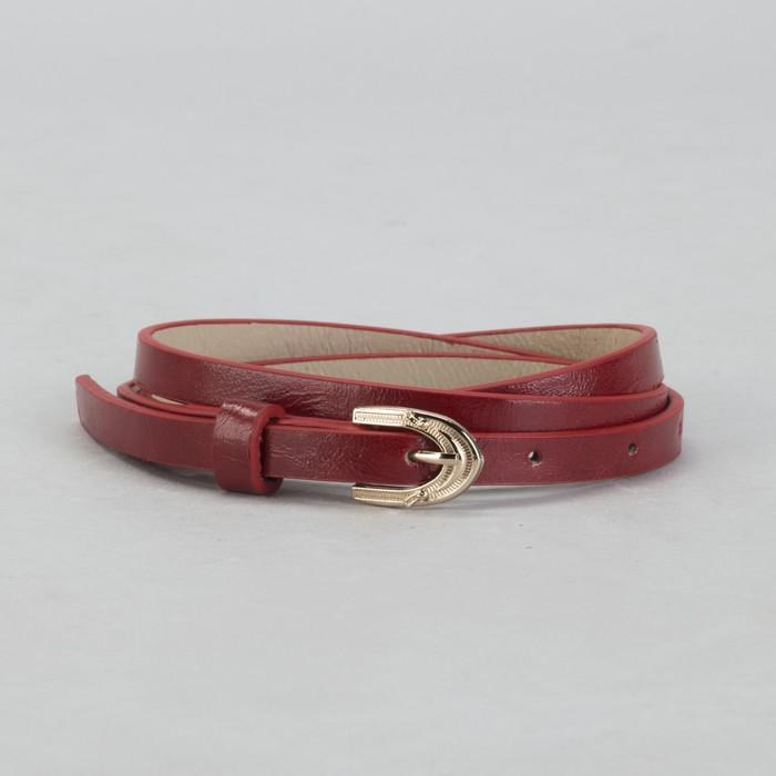 Ремень женский, гладкий, ширина - 1 см, пряжка золото, цвет бордовый