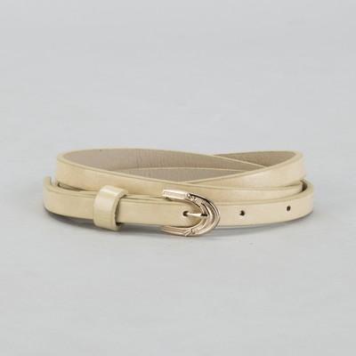 Belt female, smooth, width - 1 cm, buckle gold, color beige