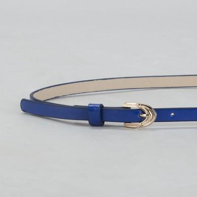 Ремень женский, гладкий, ширина - 1 см, пряжка золото, цвет синий
