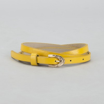 Belt female, smooth, width - 1 cm, buckle gold, color: yellow