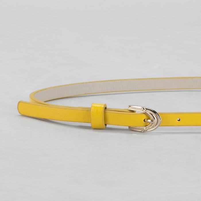 Ремень женский, гладкий, ширина - 1 см, пряжка золото, цвет жёлтый