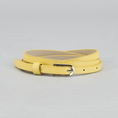 Belt female, smooth, width - 1 cm, buckle metal, color yellow