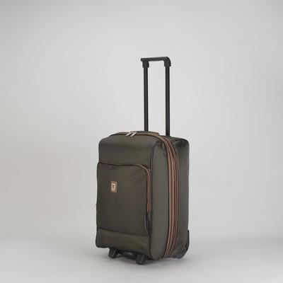 """Чемодан малый 20"""", отдел на молнии, с расширением, наружный карман, 2 колеса, цвет хаки"""
