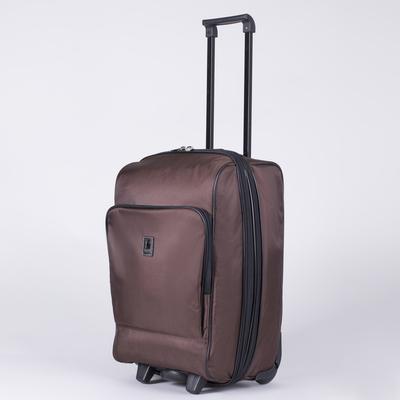 """Чемодан малый 20"""", отдел на молнии, с расширением, наружный карман, 2 колеса, цвет шоколадный"""