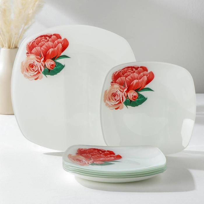 Сервиз столовый «Розы», 7 предметов: 1 шт, 27,1 cм, 6 шт, 20,5 cм, в подарочной упаковке - фото 492507