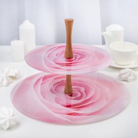 """Этажерка 2 яруса """"Розовая роза"""", плоская, в подарочной упаковке"""