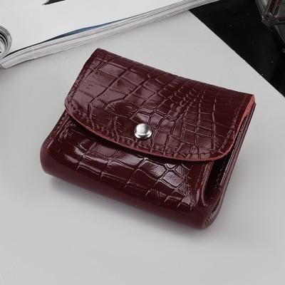Портмоне-монетница, отдел, крокодил, цвет бордовый