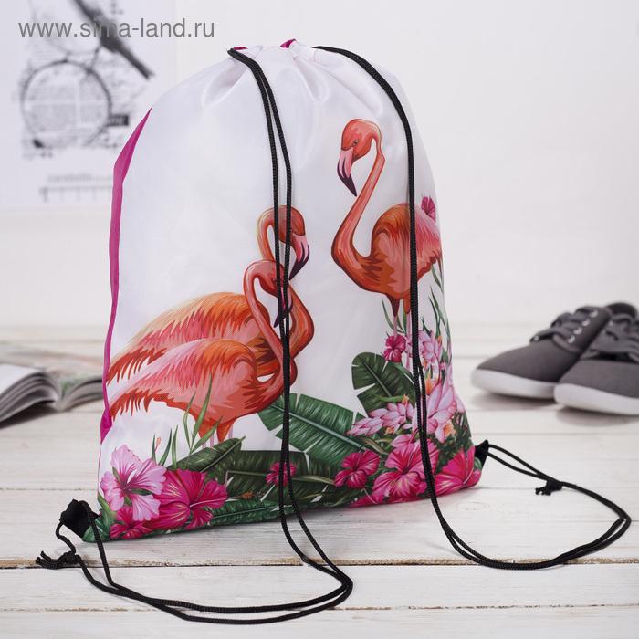 """Мешок для обуви """"Фламинго"""", отдел на шнурке, цвет белый"""