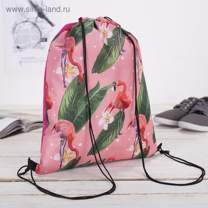 """Мешок для обуви """"Фламинго и тропики"""", отдел на шнурке, цвет розовый"""