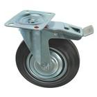 Колесо для транспортных тележек, d=200 мм, на площадке, со стопором