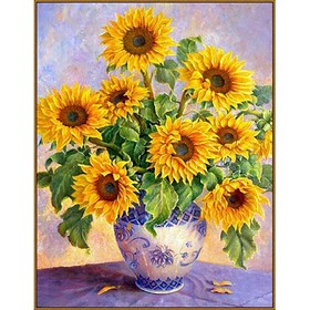 Алмазная мозаика «Подсолнухи в вазе», 35 × 45 см, 37 цветов