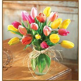Алмазная мозаика «Букет тюльпанов», 35 × 35 см, 34 цвета