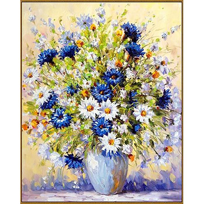 """Алмазная мозаика """"Летний букет"""", 40*50 см, 39 цветов"""