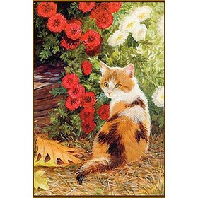 Алмазная мозаика «Кошечка в цветах», 20 × 28 см, 36 цветов
