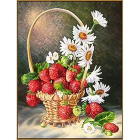 Алмазная мозаика «Корзинка с ромашками и клубникой», 20×26см, 27 цветов