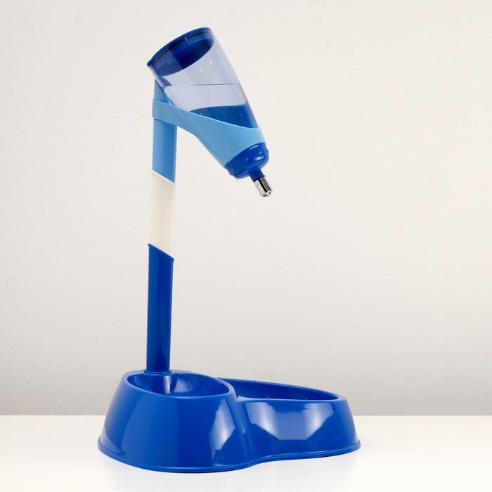 """Комплекс для кормления """"Нео"""": поилка (600 мл) и двойная миска, синий"""