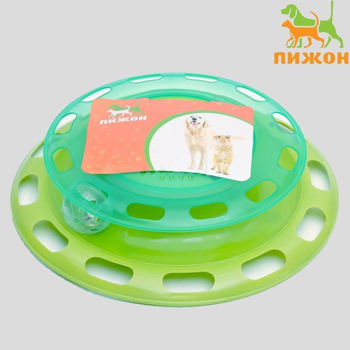 """Игровой комплекс для кошек """"Пижон"""" с отсеками для лакомств/кошачьей мяты и шариком, зелёный"""