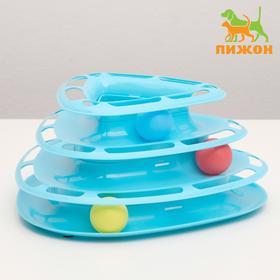 Игровой комплекс для кошек трехуровневый с шариками, микс