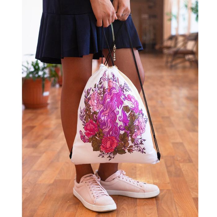 Мешок для обуви, отдел на шнурке, цвет белый
