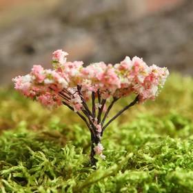 Миниатюра кукольная, набор 4 шт «Дерево» размер 1 шт: 2×2×6,5 см, цвет розово-белый с зелёным