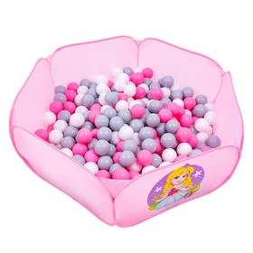 Balls to the dry pool with the pattern, diameter of bowl 7.5 cm, set of 150 pieces, color: pink, white, gray