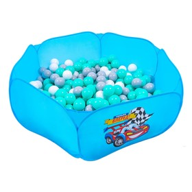 Balls to the dry pool with the pattern, diameter of bowl 7.5 cm set of 60 pieces, color turquoise, white, gray