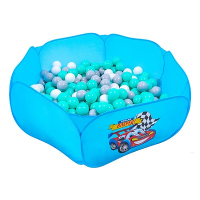 Шарики для сухого бассейна с рисунком, диаметр шара 7,5 см, набор 60 штук, цвет бирюзовый, белый, серый