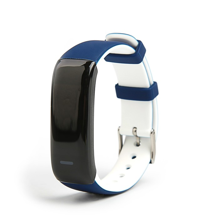 Фитнес-браслет Qumann QSB 09, цвет дисп, оповещения, будильник, шагомер, бело-синий