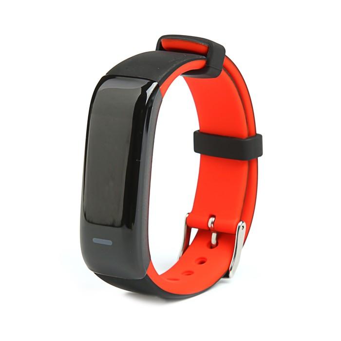 Фитнес-браслет Qumann QSB 09, цвет дисп, оповещения, будильник, шагомер, черно-красный