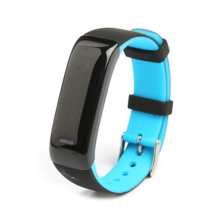 Фитнес-браслет Qumann QSB 09, цвет дисп, оповещения, будильник, шагомер, черно-синий