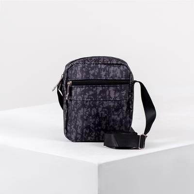 Сумка мужская, отдел на молнии, наружный карман, регулируемый ремень, цвет чёрный/серый