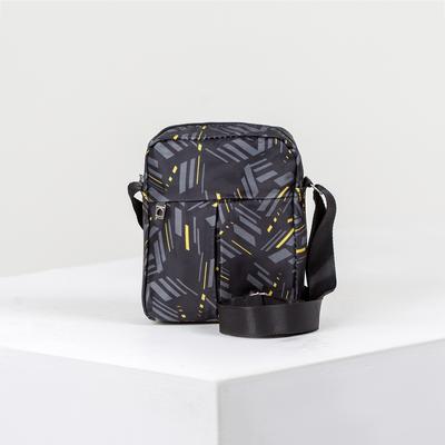 Bag mens, division zipper, outside pocket, adjustable strap, color black